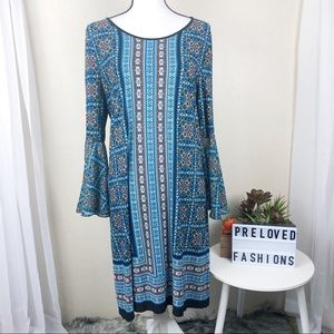 Laundry Shelli Segal Paisley Bell Sleeve Dress 10